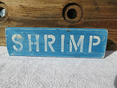 12 Inch Wood Hand Painted Shrimp Sign Nautical Maritime Seafood (#s355)