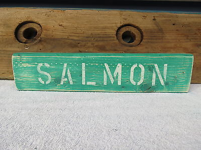 16 Inch Wood Hand Painted Salmon Sign Nautical Maritime Seafood (#s403)