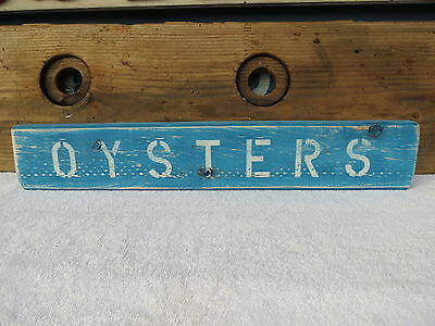 21 Inch Wood Hand Painted Oysters Sign Nautical Maritime Seafood (#s417)