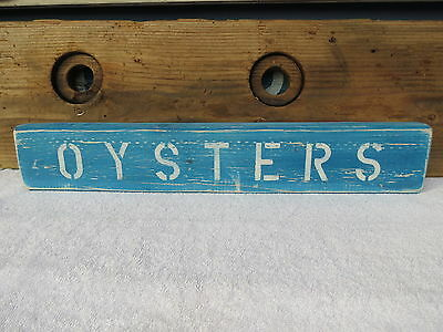 21 Inch Wood Hand Painted Oysters Sign Nautical Maritime Seafood (#S418)