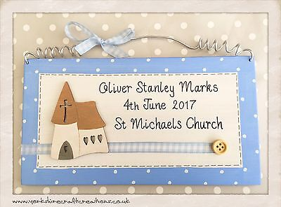 Christening Day Plaque PERSONALISED NAME DATE & CHURCH Boys Babys Keepsake Gift