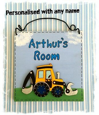 JCB Style Yellow Digger Sign Plaque For Bedroom Door PERSONALISED WITH ANY NAME