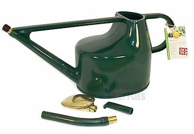 Haws 5L Green Deluxe Plastic Watering Can With Brass Rose - Garden House Plants