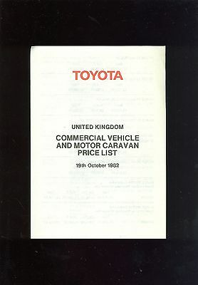 1982 (Oct) Toyota Light Commercials Price List