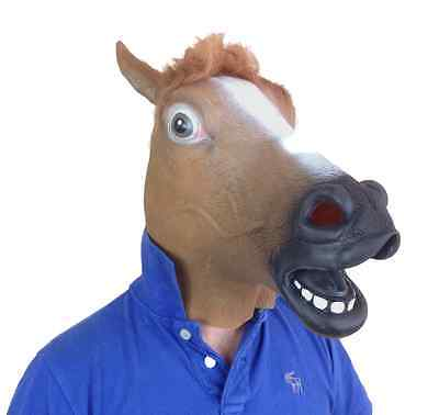 Rubber Brown Horse Head Mask Full Head Latex Fancy Dress Party Stag Panto Masks