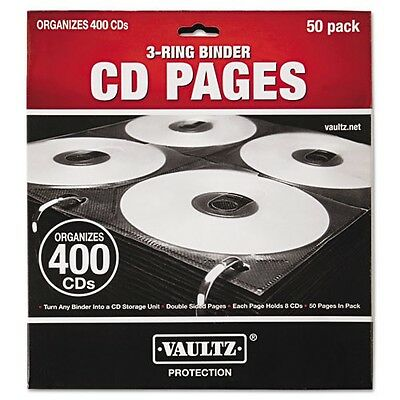 Vaultz Two-Sided CD Refill Pages for Three-Ring Binder,50/Pack-IDEVZ01415 Black