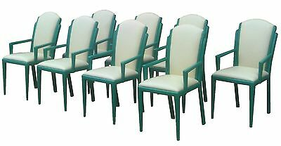 8 vintage Art Deco Revival Hollywood Regency arm dining CHAIR Mid Century Modern