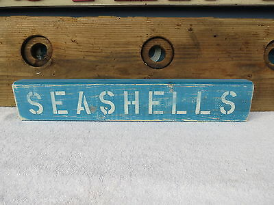 20 Inch Wood Hand Painted Seashells Sign Nautical Maritime Seafood (#s434)