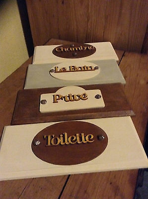 French Vintage Style Wooden Door Plaques .