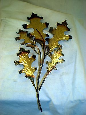 Home Interiors HOMCO  Oak Leaf wall art, vintage brass style metal swag, 13""