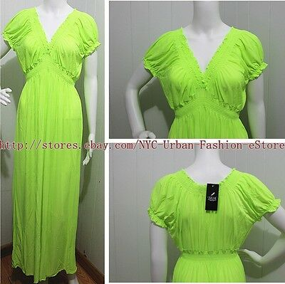 PLUS SIZE Full Length Women's Dress Short Sleeve Solid MAXI Sexy Dress/Gown #W1
