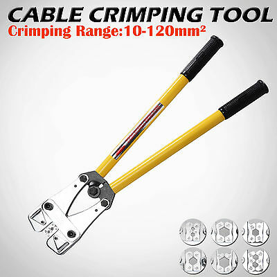 10 - 120mm² Cable Crimping Crimper Tool Electrical Battery Rotatable Lug 8 Die