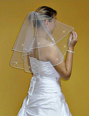"New 2T White / Ivory Wedding Prom Bridal Veil With Comb 24""- Swarovski Crystals"
