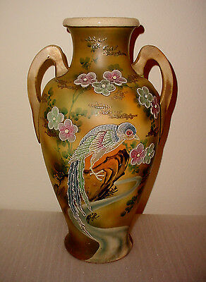 Vintage Stunning Large Urn Style Two Handle Raised Floral Print With Bird Vase