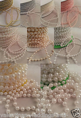 Pearls Cut Lengths String Beads Sewing Trim Cake Craft Wedding Bridal