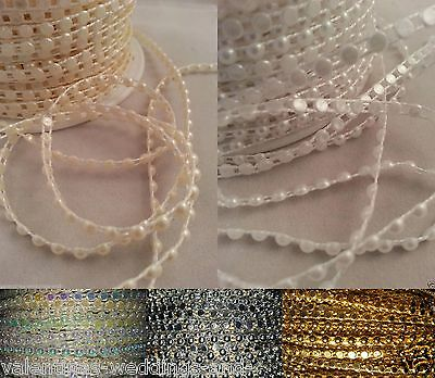 4mm Flatback Acrylic Pearls String Beads Sewing Trim Multi Trimmings