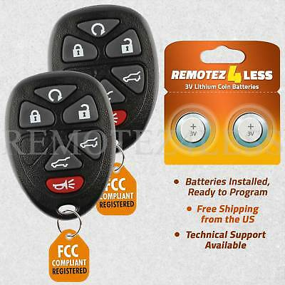 2 New Replacement Keyless Entry Remote Key Fob for 15913427