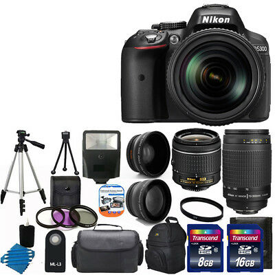 New Nikon D5300 Digital SLR Camera +4 Lens 18-55mm VR +70-300 +24GB Full Top Kit