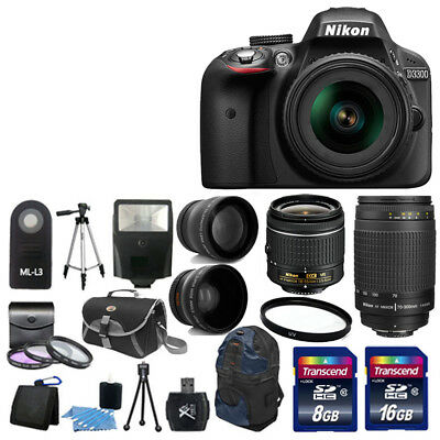 Nikon D3300 Digital SLR Camera +4 Lens 18-55 VR 70-300mm +24GB KIT & More NEW