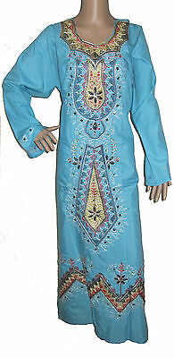 Egyptian Cotton Sateen Embroidered Kaftan 100% Genuine