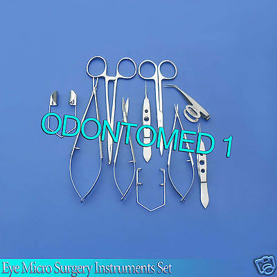 10 Pcs Eye Micro Surgery Surgical Ophthalmic Veterinary Forceps Instruments Kit