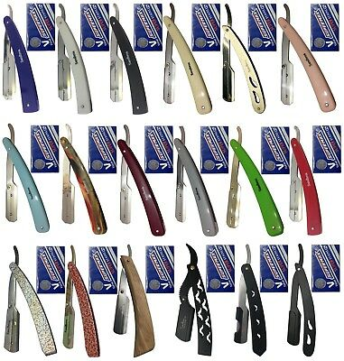 Barber Straight Cut Throat Salon Shaving Razor Rasoi Rasoirs + 10 Blades