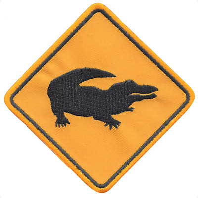 Australia Road Sign Crocodile Embroidered Patch Badge