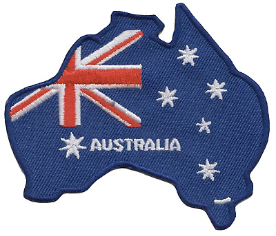 Australia Flag Country Outline Embroidered Patch Badge