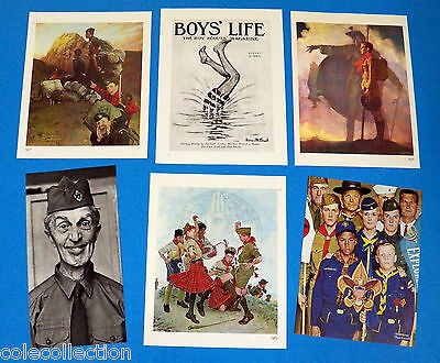 Lot of 6 Vintage Norman Rockwell Boy Scout Prints, Great Condition