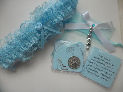 Bride Garter and Lucky Sixpence with Organza bag *personalised*