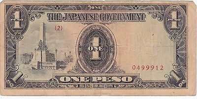 The Japanese Government 1 Peso Banknote  Japan Occupation Safe Keeping Stamp