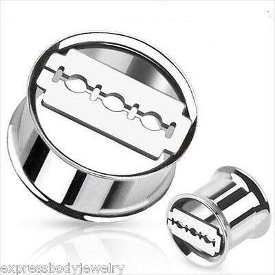 Black Square Prong Set Surgical Steel Tunnel Ear Plugs Gauges Sold  Pairs GA32K Fashion Jewelry