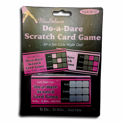 12 pink/black Hen night/party game, bride to be/scratch