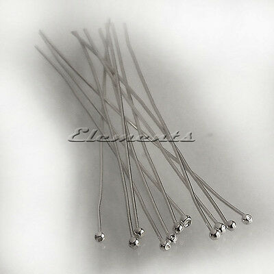 Solid 925 Sterling Silver Ball End Head Pins 50mm x 0.5mm Findings Headpins