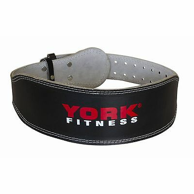 York Leather Weight Lifting Belt Padded Power Training Gym Bodybuilding Fitness