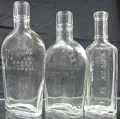 Lot of 3 1910's-20's Embossed Flask Bottle Collection~Great Seals