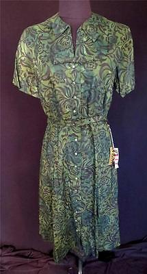 Rare Vintage 1950's Deadstock Never Worn Green Printed Cotton Dress Size 12+