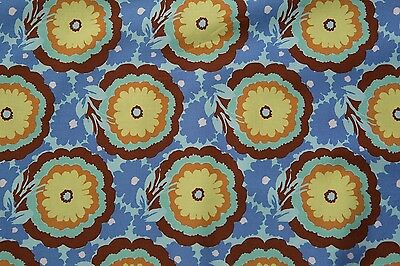 Amy Butler, Soul Blossoms-Buttercups-Cyan 100% Cotton Designer Fabric AB62