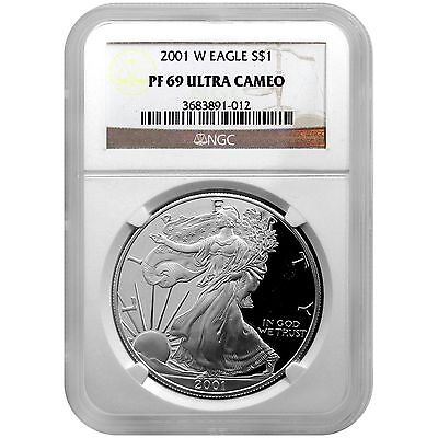 2001 W Silver American Eagle PF69 UC NGC Brown Label