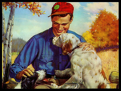 "Vintage 1950's ""anticipation"" Hunter & His Dogs Calendar Art Print"