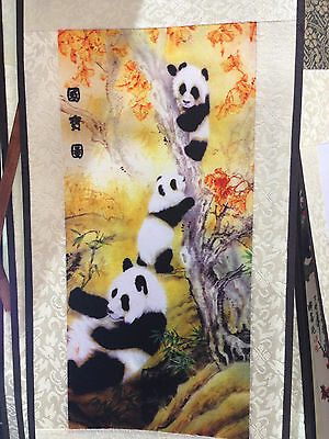 Three Panda Playing Chinese Silk Print Printing Picture Wall Scroll Art 6''x19''
