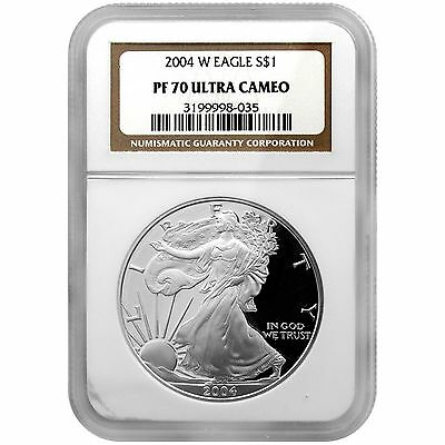 2004 W Silver American Eagle PF70 UC NGC Brown Label
