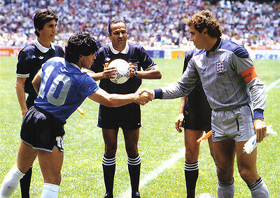England Peter Shilton And Maradona 01 Photo Print