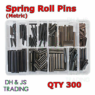 Assorted Box of Spring Roll Pins (300) Metric M2 M3 M4 M5 M6 M8 Slotted Tension