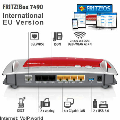 AVM Fritzbox 7490 International Annex A & B (20002647), VoIP, Gigabit WLAN, DECT