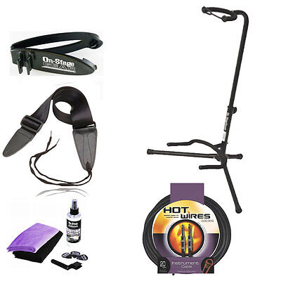 On-Stage Stands Classic Guitar Stand Fret Rest +Guitar Cable w/ Strap +Care Kit