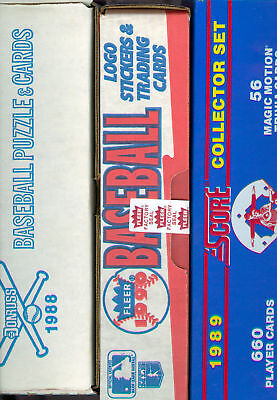 1988 Donruss 1989 Score 1990 Fleer Baseball Card Complete Box set Collection FCT