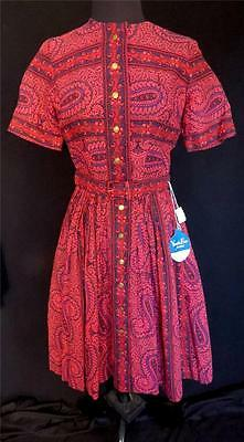 Rare Vintage 1950's Deadstock Never Worn Red Paisley Print Cotton Dress Sz 4+
