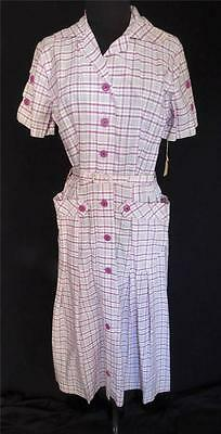 Rare Vintage Early 1950's Deadstock Never Worn Plaid Print Cotton Dress Sz 8+