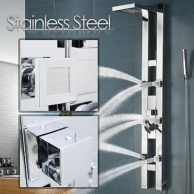 "59"" Stainless Steel Bathroom Shower Panel Tower Massage Spa Spray Jets Rainfall"